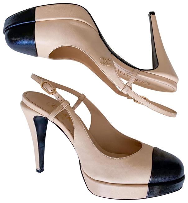 Item - Beige Black Slings Nvl C0204 Cap Toe Pumps Size EU 39.5 (Approx. US 9.5) Regular (M, B)