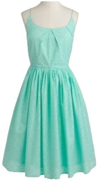 Item - Mint Green Geo Eyelet Fit & Flare Mid-length Cocktail Dress Size 16 (XL, Plus 0x)