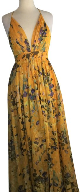 Item - Yellow Floral Print Sheer Gathered Halter Night Out Dress Size 6 (S)