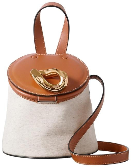 Item - Bucket Bag Chain Lid and Canvas White Leather Tote