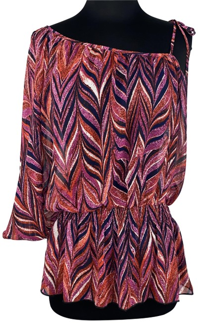 Item - Multicolor Michele Bohbot S Patterned Slit Sleeve Tie Strap Blouse Size 4 (S)