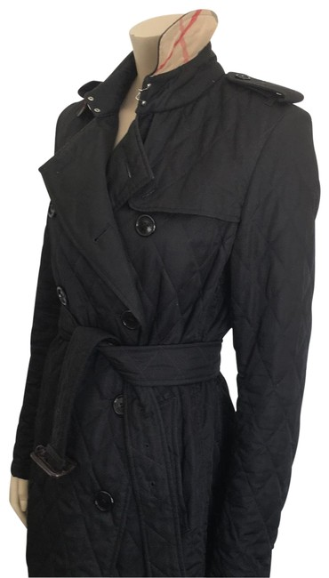 Item - Black Quilted W Jacket/Trench W/Nova Check Jacket Size 8 (M)