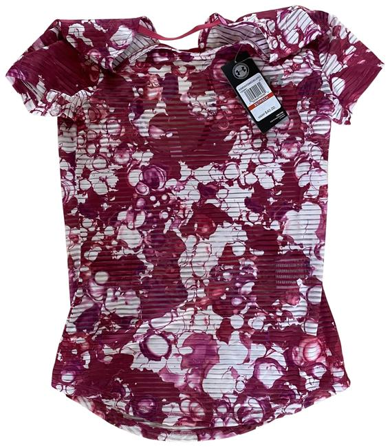 Item - Pink and White XS Floral Sheer Activewear Top Size 2 (XS)