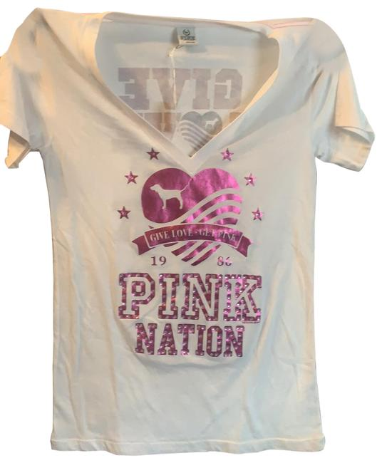 Item - White Give Love Get Nation Tee Shirt Size 12 (L)