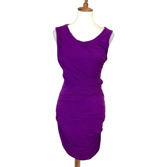 Item - Purple Helena Ruched Bodycon Mid-length Cocktail Dress Size 6 (S)