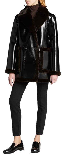 Item - Espresso W Patent Faux-leather Peacoat W/ Bonded Faux Shearling Jacket Size 8 (M)