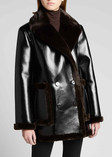 Theory Espresso W Patent Faux-leather Peacoat W/ Bonded Faux Shearling Jacket Size 8 (M) Theory Espresso W Patent Faux-leather Peacoat W/ Bonded Faux Shearling Jacket Size 8 (M) Image 3