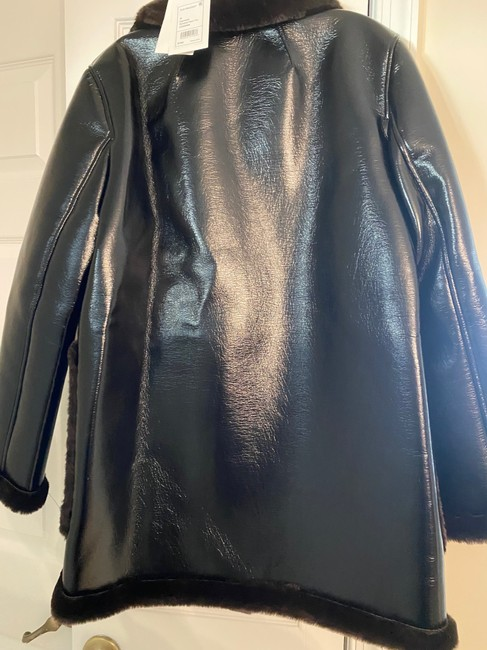 Theory Espresso W Patent Faux-leather Peacoat W/ Bonded Faux Shearling Jacket Size 8 (M) Theory Espresso W Patent Faux-leather Peacoat W/ Bonded Faux Shearling Jacket Size 8 (M) Image 6