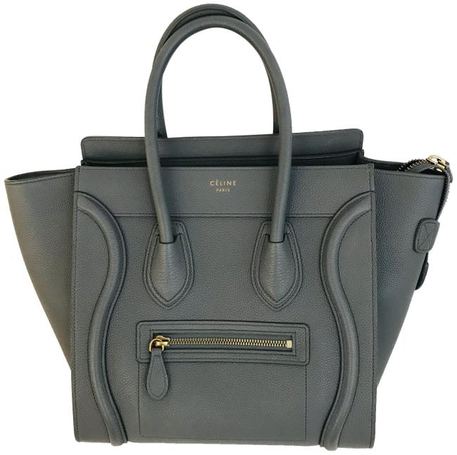Item - Luggage Drummed Calfskin Micro Grey Leather Tote