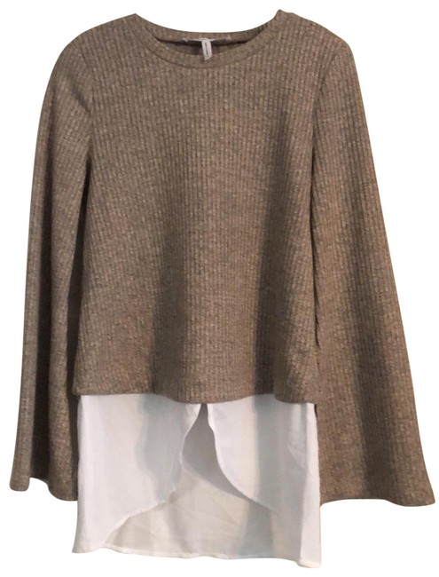 Item - Contrasting Fabric Layered Look Beige and White Sweater