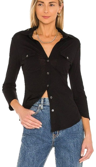 Item - Black Contrast Panel Shirt In Carbon Button-down Top Size 8 (M)