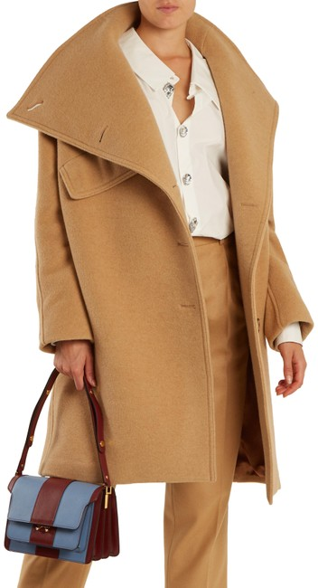 Item - Camel 500 Funnel Neck Ciara Wool Coat Size 4 (S)