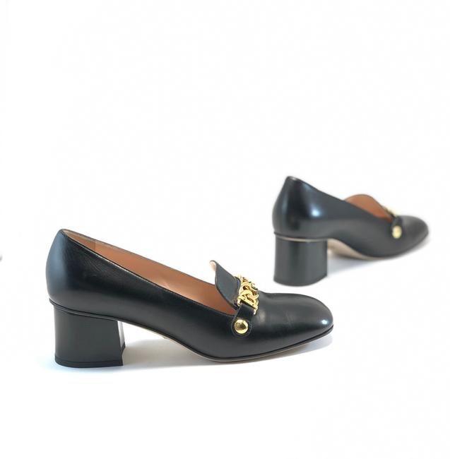 Item - Black Sylvie Leather Loafer Gold Chain Pumps Size EU 39 (Approx. US 9) Regular (M, B)