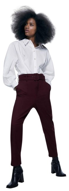 Item - Burgundy Belted Casual Pants Size 12 (L, 32, 33)