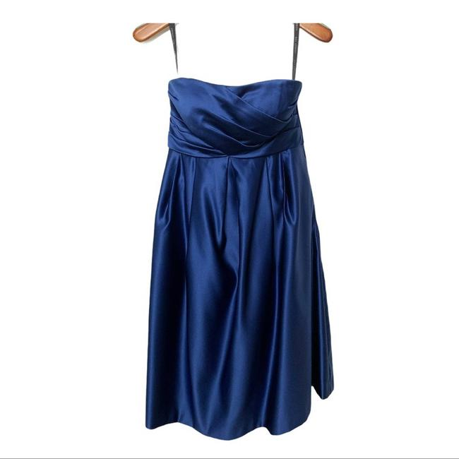 Item - Blue Polyester Strapless Pockets Modern Bridesmaid/Mob Dress Size 6 (S)