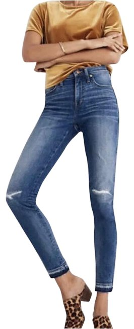 Item - Blue Distressed 9 Inch High Rise Skinny Jeans Size 4 (S, 27)