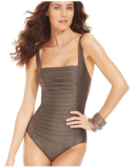 Calvin Klein Bronze Pleated Ruched Front Panel One-piece Bathing Suit Size 12 (L) Calvin Klein Bronze Pleated Ruched Front Panel One-piece Bathing Suit Size 12 (L) Image 1