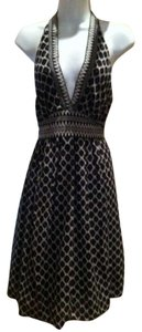 BCBG Max Azria Halter Cool And Comfortable Casual And Elegant Black White And Gray Dress