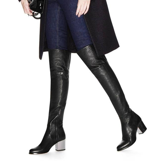 Item - Black Mercer Leather Over The Knee Chunky Silver Heel Boots/Booties Size EU 39.5 (Approx. US 9.5) Regular (M, B)