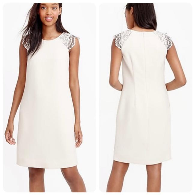Item - Cream Edged Lace Cap Sleeve Shift Mid-length Cocktail Dress Size 12 (L)