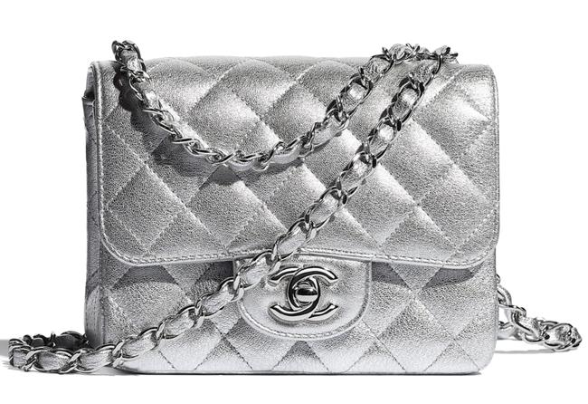 Item - Shoulder 21p Metallic Metal Mini Flap Square Cc Logo Quilted Chain Silver Lambskin Leather Cross Body Bag