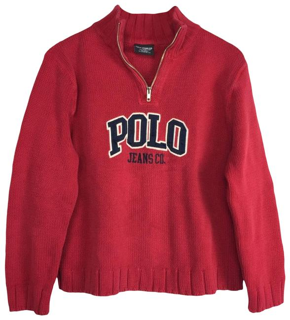 Item - Vintage Logo Quarter Zip Red Sweater