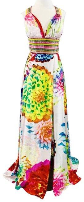 Item - White Multicolored Silk Beaded Front Slit Long Formal Dress Size 2 (XS)