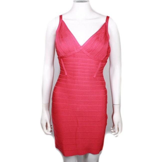 Item - Coral Pink / Bright Red New: Sleeveless Mini Bodycon V Neck Bandage Us M Short Night Out Dress Size 8 (M)