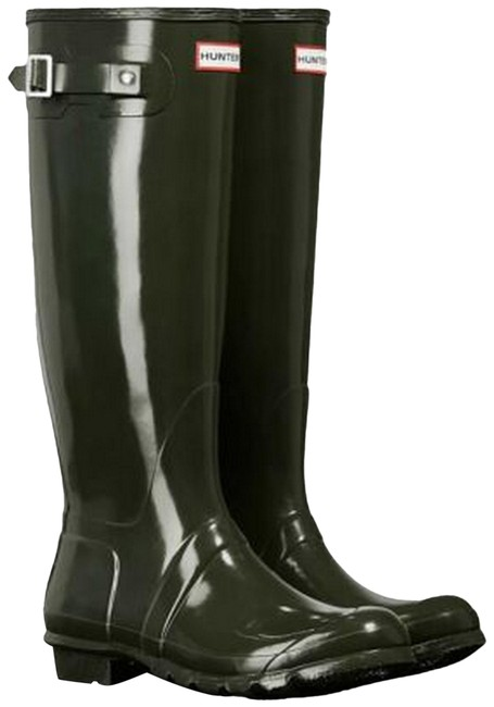 Item - Dark Olive High Gloss Waterproof Boots/Booties Size US 7 Regular (M, B)
