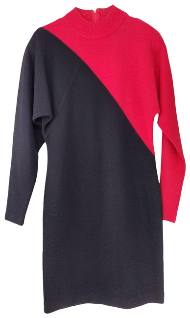 Item - Red Color Block Bodycon Mini Short Casual Dress Size 4 (S)