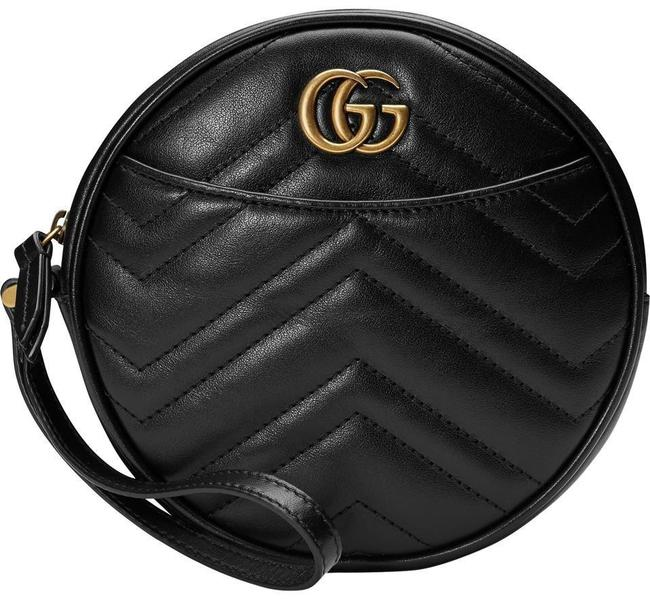 Item - New Gg Pouch Card Case Wallet Wristlet Black Leather Clutch