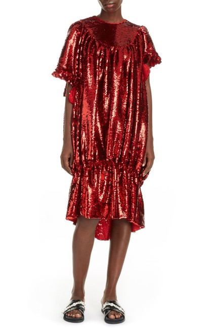 Item - Red Sequin Asymmetrical Bubble Mid-length Night Out Dress Size 8 (M)