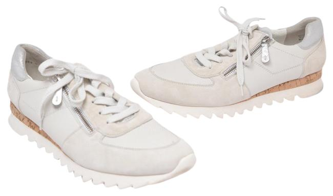 Item - Off White Chalk Perforated Motif Leather Rubber Cork Platform Zip Sneakers Size US 10.5 Regular (M, B)