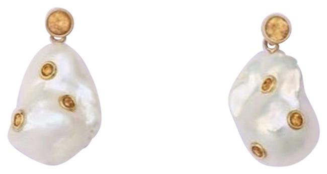 Item - Ivory and Yellow Baroque Cultured Pearl & Citrine Earrings