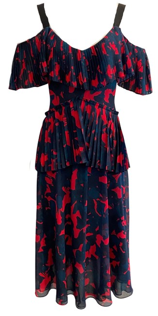Item - Navy Blue / Red Pleated Long Casual Maxi Dress Size 2 (XS)