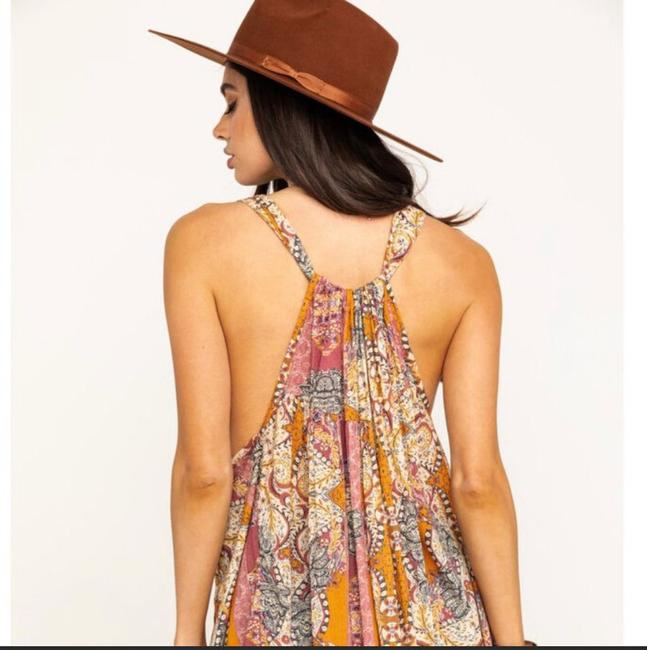 Free People Beige and Pink Count Me In Trapeze Tunic Size 6 (S) Free People Beige and Pink Count Me In Trapeze Tunic Size 6 (S) Image 2