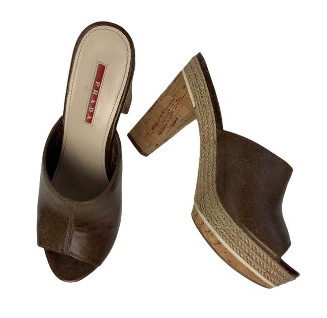 Item - Brown Platform Open Toe Mules/Slides Size US 8 Regular (M, B)
