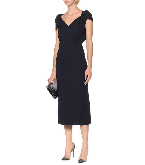 Item - Navy Blue Eclipse Wool-crêpe Midi Mid-length Cocktail Dress Size 6 (S)