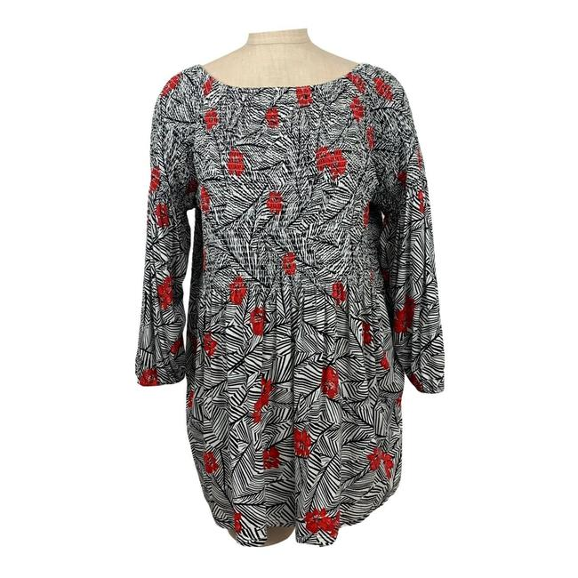 Item - Multicolor XL Smocked 3/4 Sleeve Knit Women Red Floral Cott Tunic Size 16 (XL, Plus 0x)