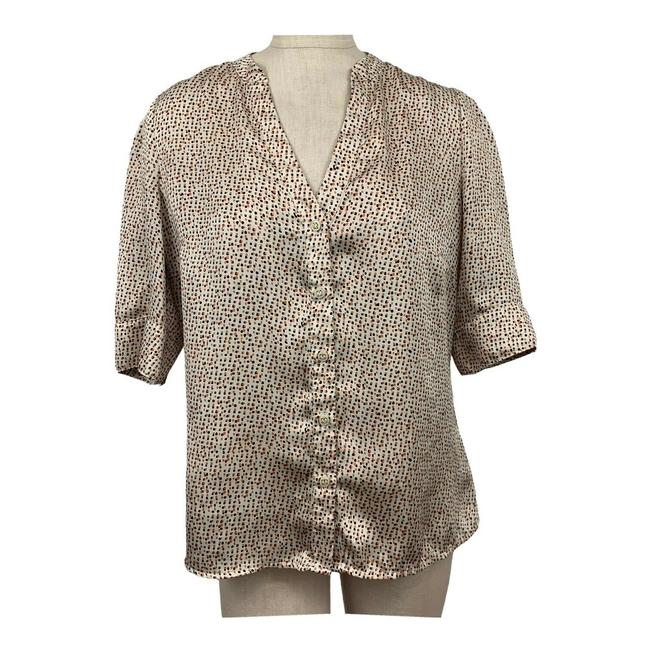 Item - Brown Scandal Collection Polka Women Large Tall Blouse Size 12 (L)