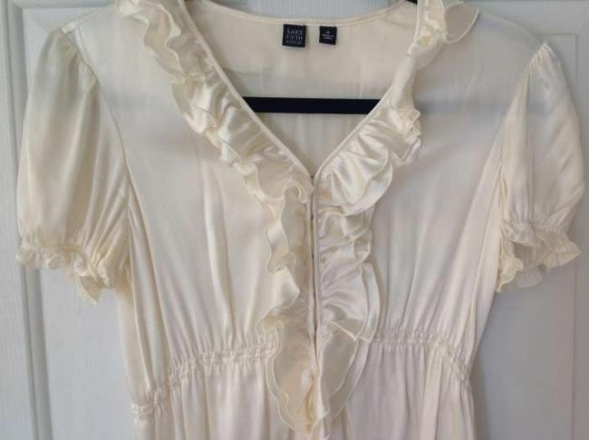 Saks Fifth Avenue Silk Ruffle Top cream