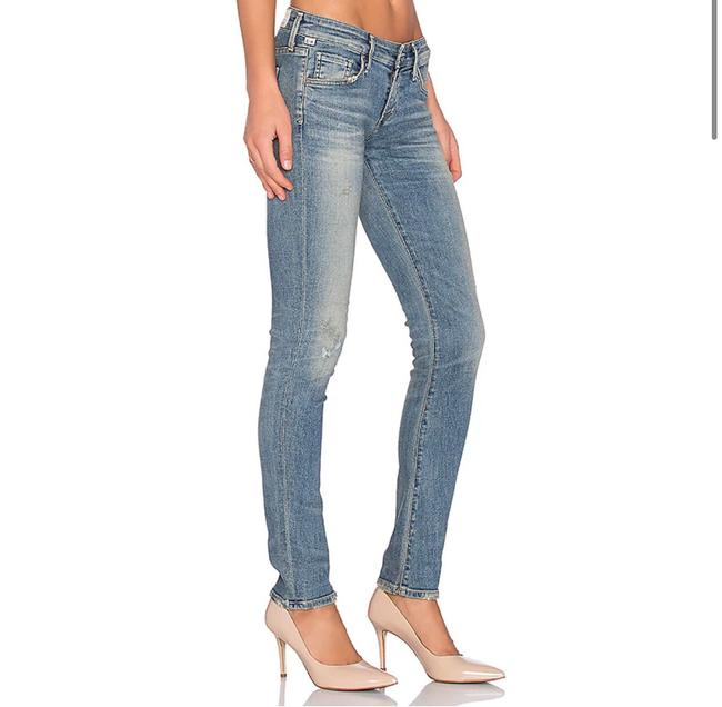 Item - Blue Distressed Racer Low Rise Skinny Jeans Size 0 (XS, 25)