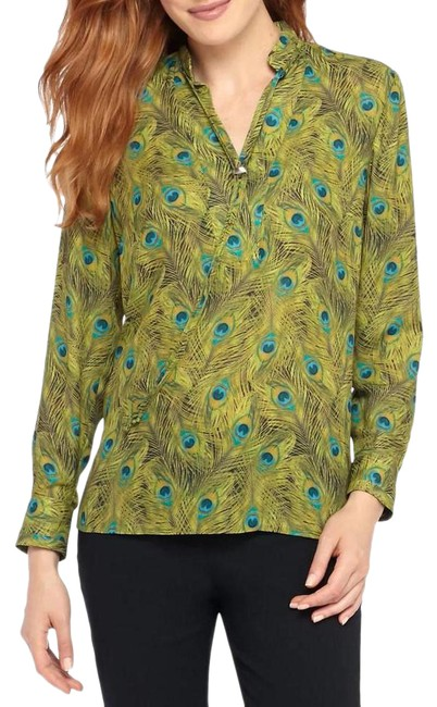 Item - Multicolor Long Sleeve Peacock Printed Blouse Size 16 (XL, Plus 0x)