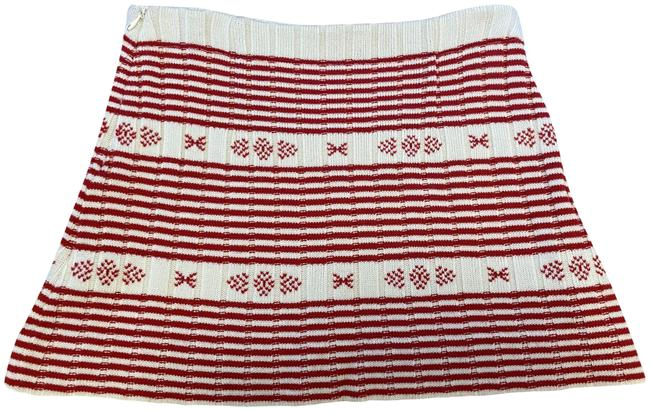 Item - Red and White Wool Knit Mini 38 Skirt Size 0 (XS, 25)