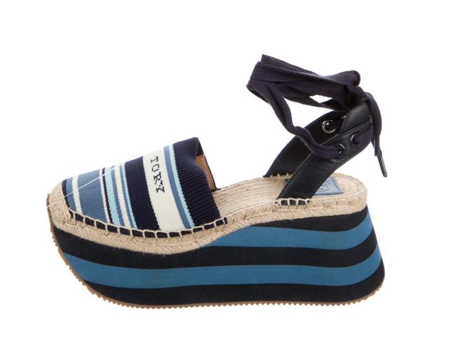 Item - Blue Striped Round Toes with Leather Embellishment Sandals Size US 9.5 Regular (M, B)