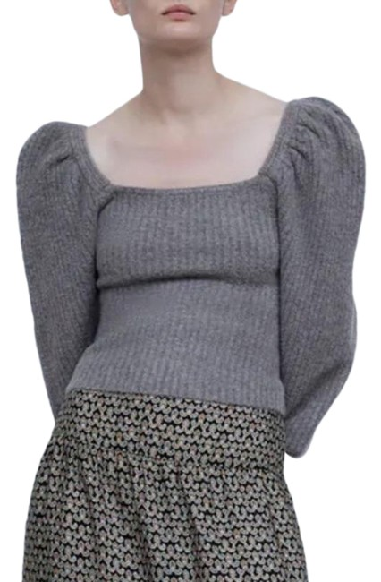 Item - Puff Sleeve Wool Blend Knit Gray Sweater