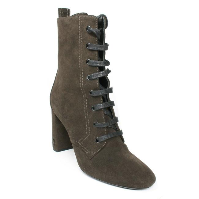 Item - Olive Green Ysl Lace Suede Heel - Boots/Booties Size EU 38 (Approx. US 8) Regular (M, B)