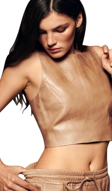 Item - Beige XS New Leather Crop Champagne Extra Small 5479/017 Halter Top Size 2 (XS)