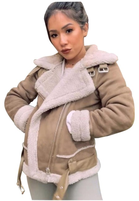 Item - Taupe Double Faced Suede Biker Sherpa Jacket Size 6 (S)