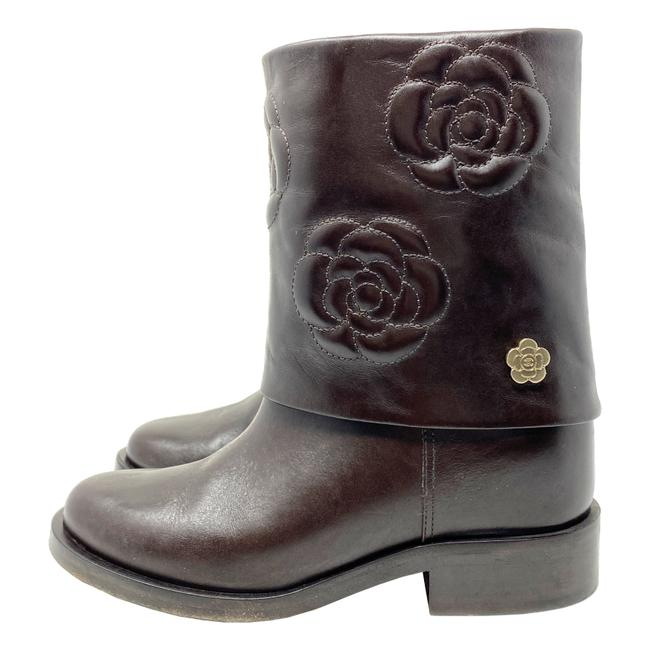 Item - Brown Karl Lagerfeld Era Camellia Embroidered Leather Fold Over Biker Boots/Booties Size US 7.5 Regular (M, B)
